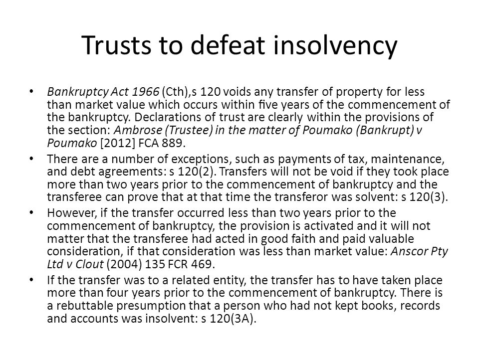 Trusts to defeat insolvency