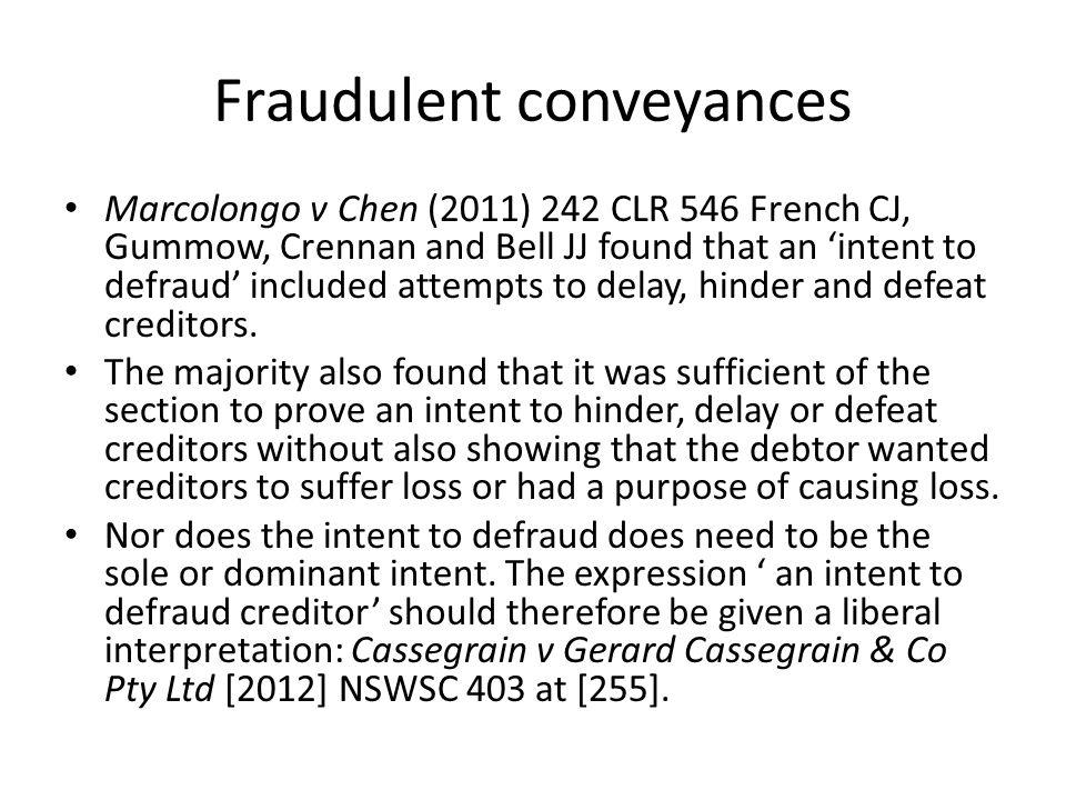 Fraudulent conveyances