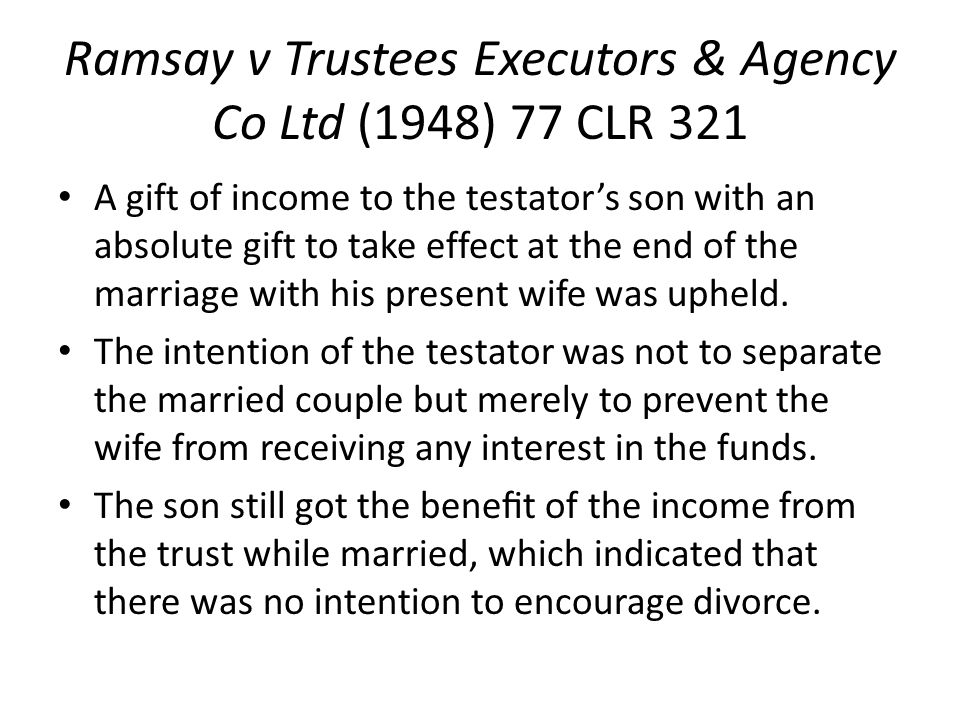 Ramsay v Trustees Executors & Agency Co Ltd (1948) 77 CLR 321
