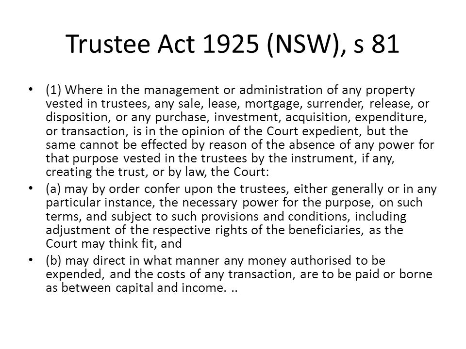 Trustee Act 1925 (NSW), s 81