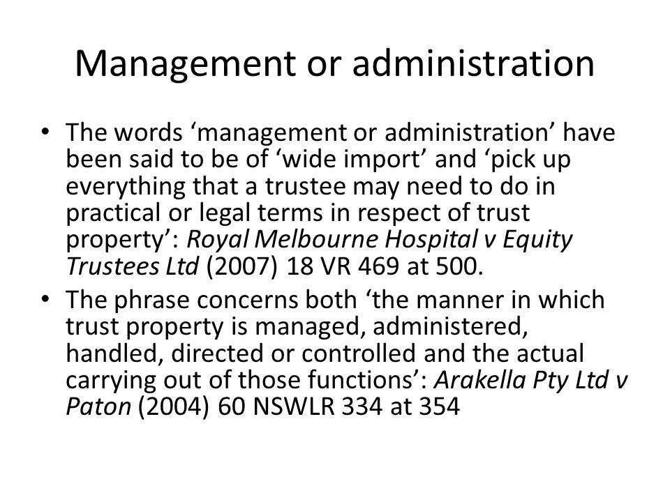 Management or administration