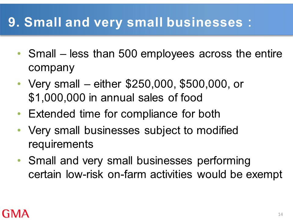 9. Small and very small businesses: