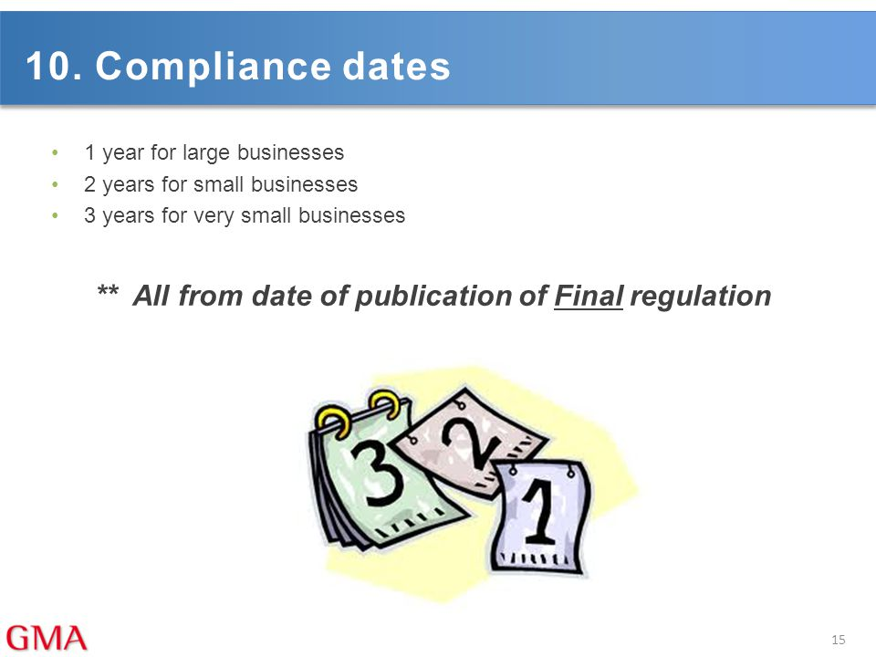 10. Compliance dates 1 year for large businesses. 2 years for small businesses. 3 years for very small businesses.