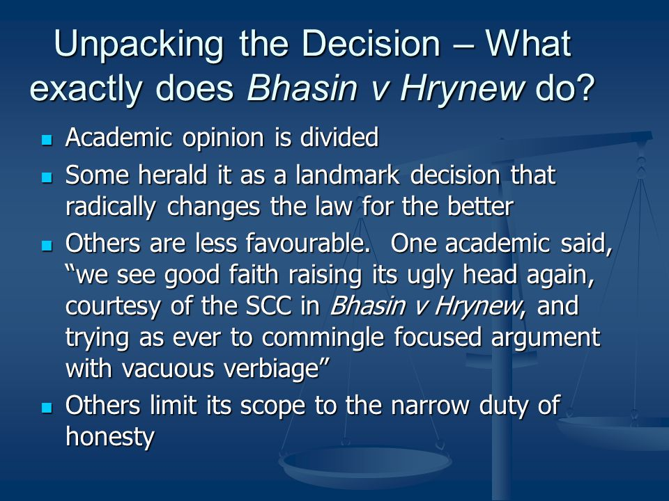 Unpacking the Decision – What exactly does Bhasin v Hrynew do
