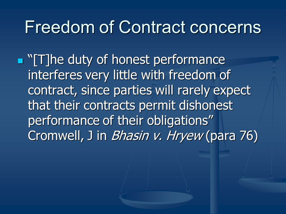 Freedom of Contract concerns