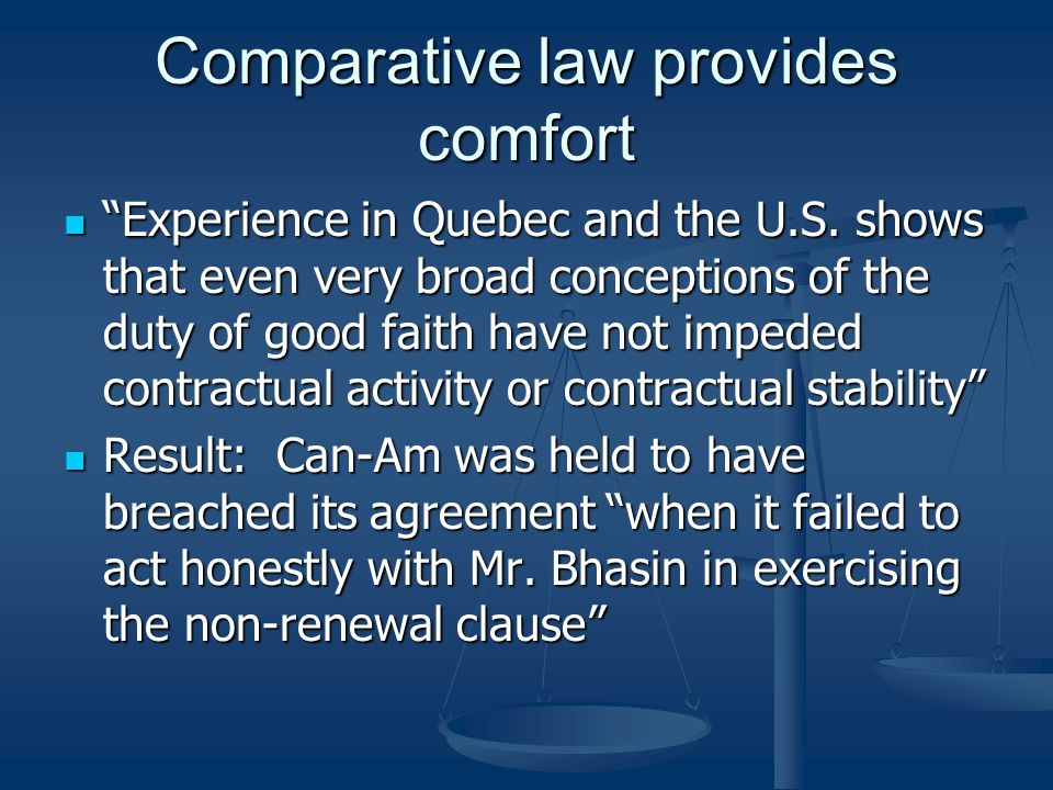 Comparative law provides comfort
