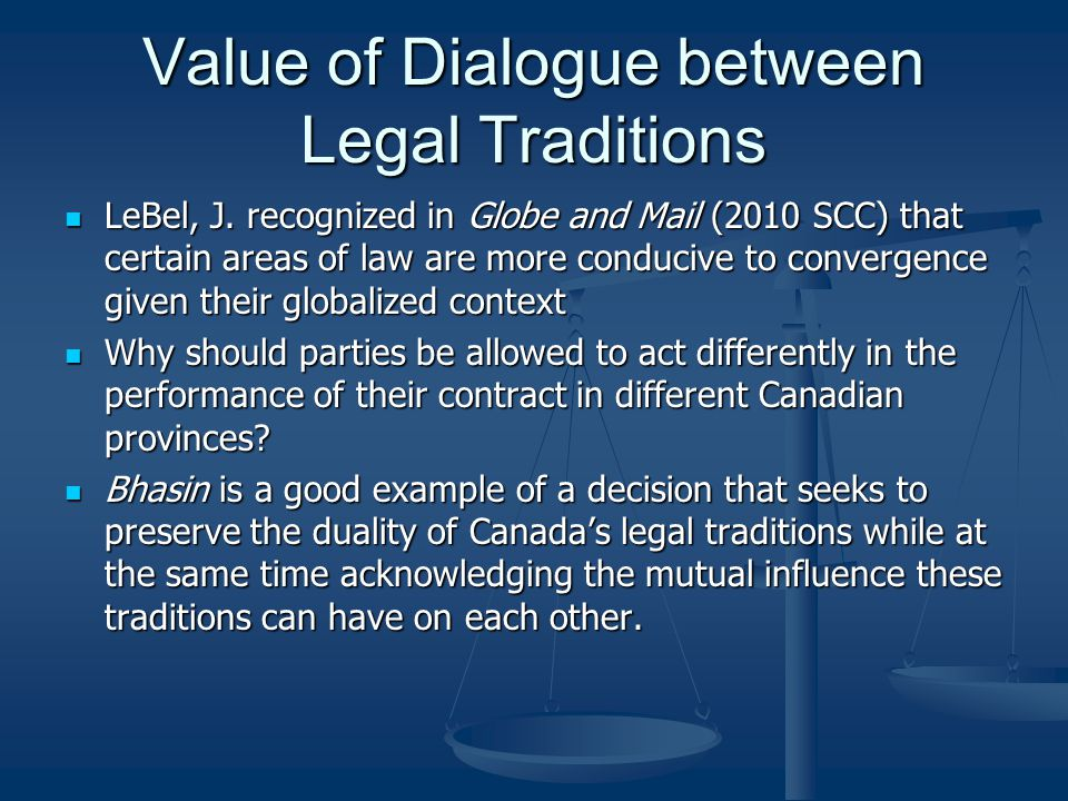 Value of Dialogue between Legal Traditions