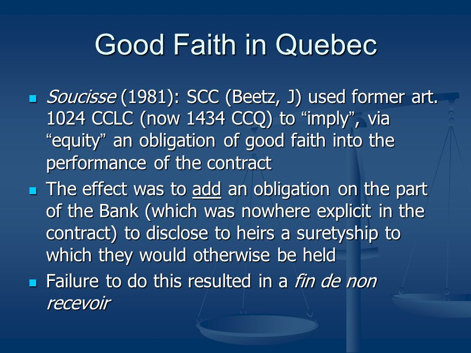 Good Faith in Quebec