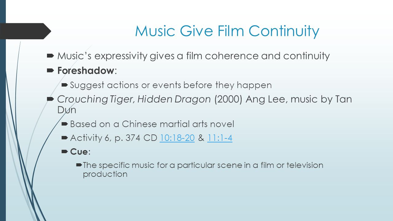Music Give Film Continuity