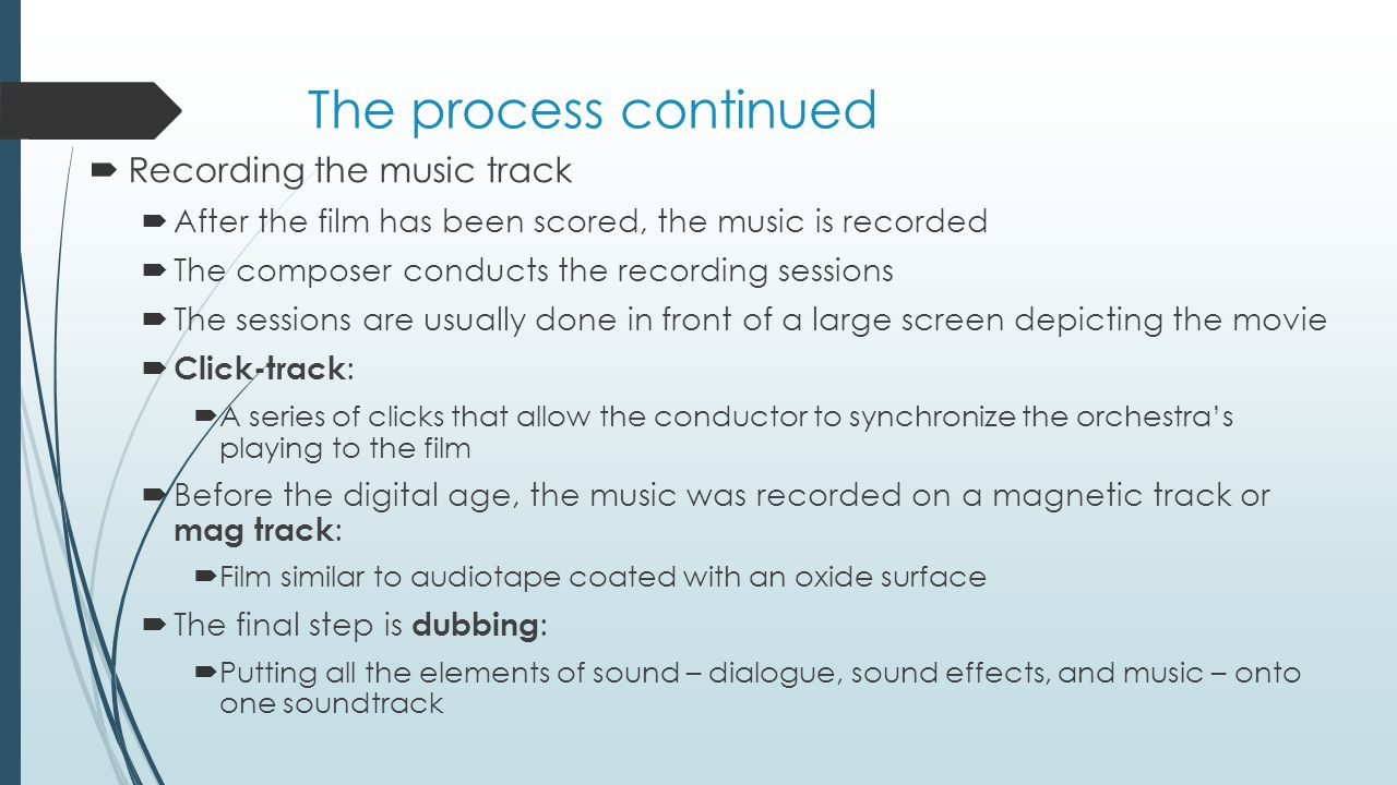 The process continued Recording the music track