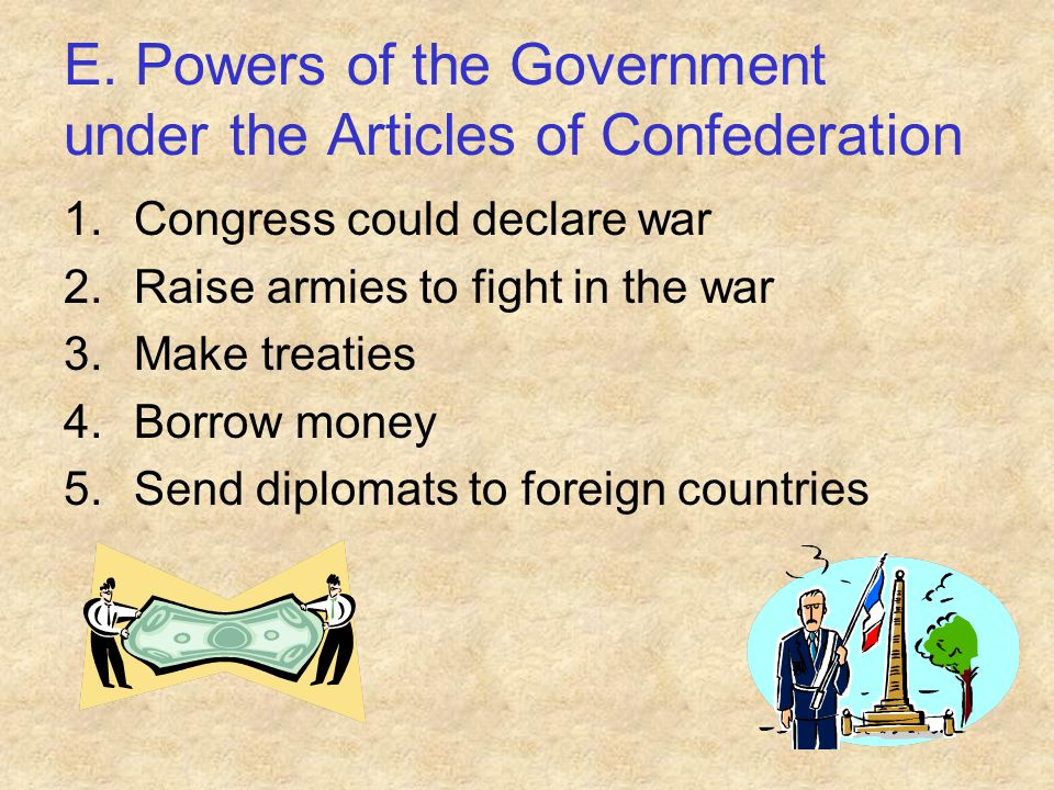 E. Powers of the Government under the Articles of Confederation