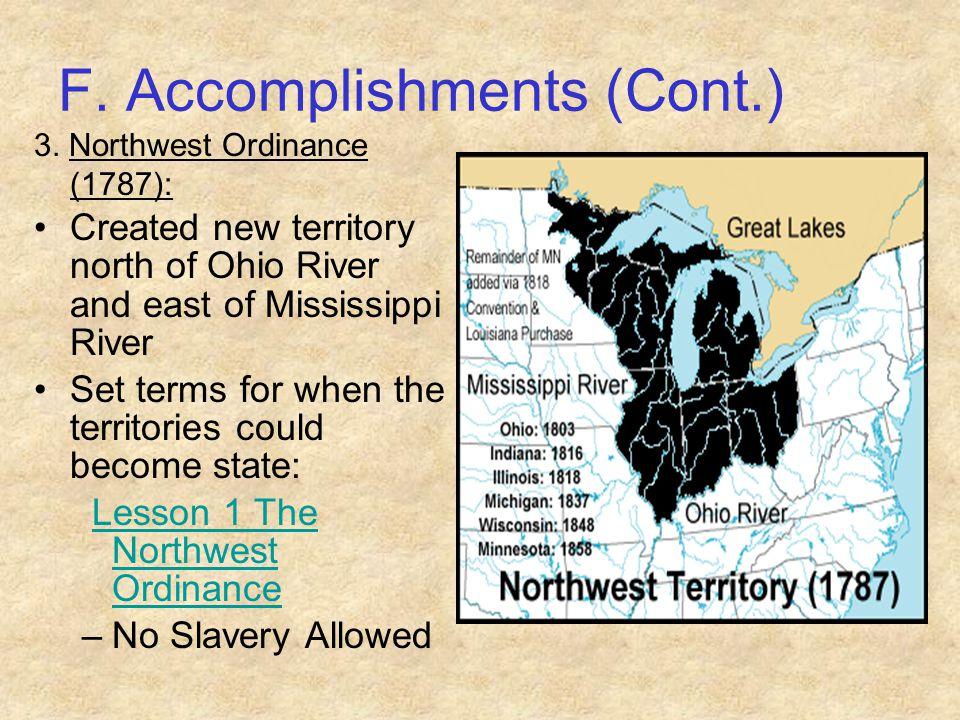 F. Accomplishments (Cont.)