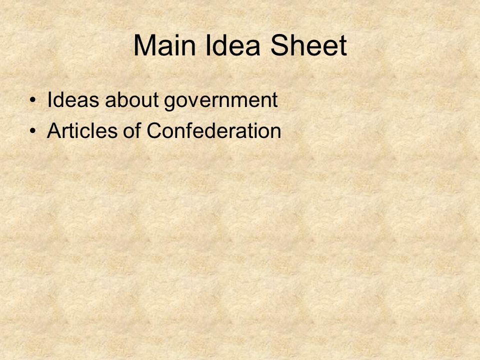 Main Idea Sheet Ideas about government Articles of Confederation