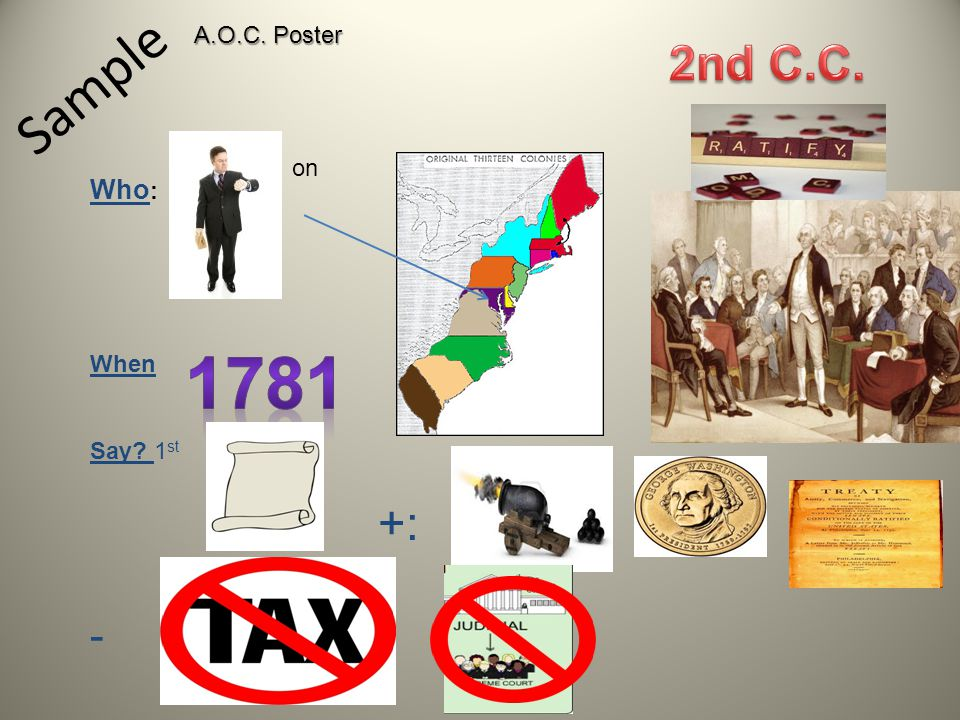 A.O.C. Poster Sample 2nd C.C. on Who: When Say 1st +: - 1781