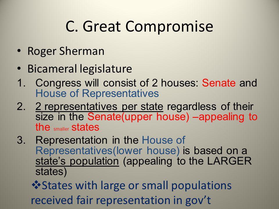 C. Great Compromise Roger Sherman Bicameral legislature