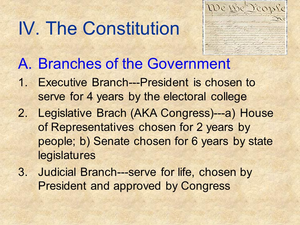 IV. The Constitution Branches of the Government