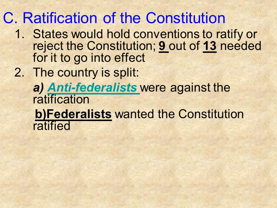 C. Ratification of the Constitution