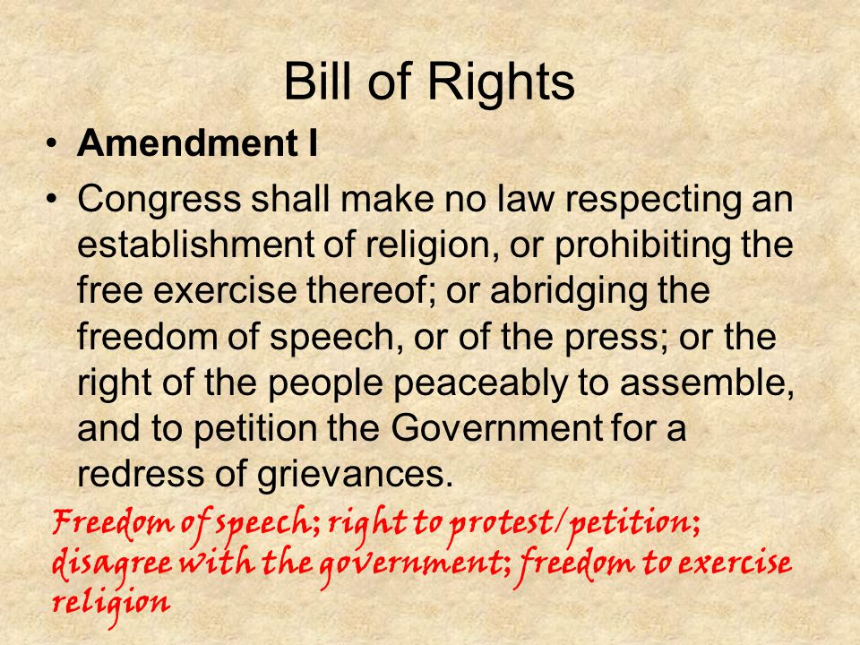 Bill of Rights Amendment I