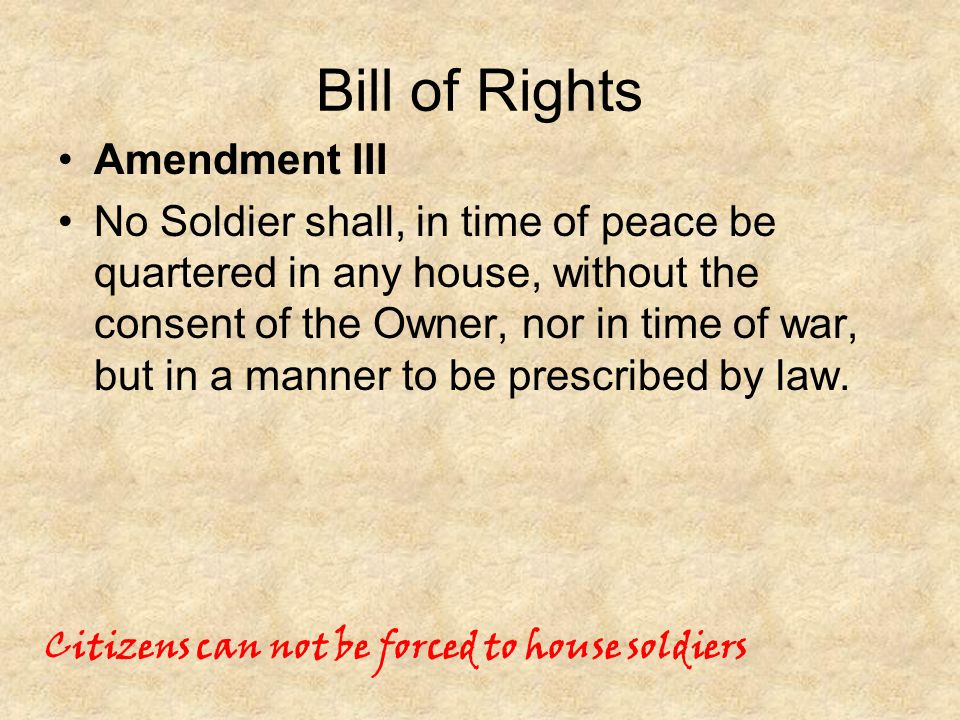 Bill of Rights Amendment III