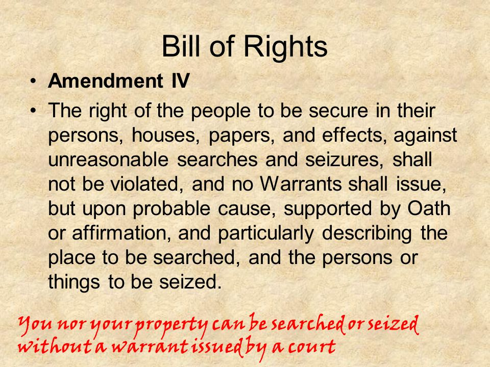 Bill of Rights Amendment IV