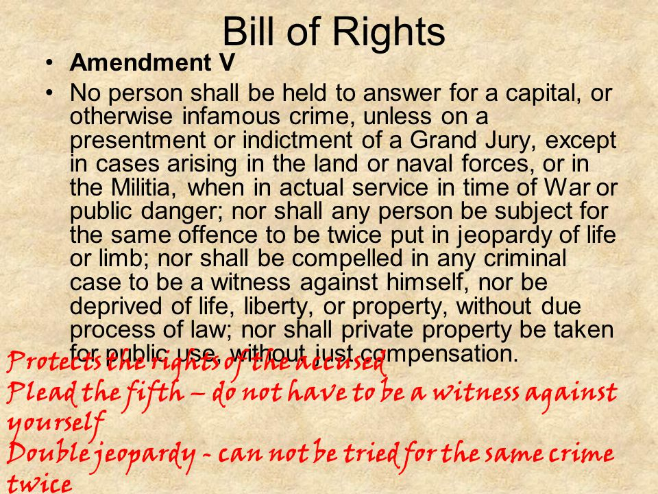 Bill of Rights Protects the rights of the accused