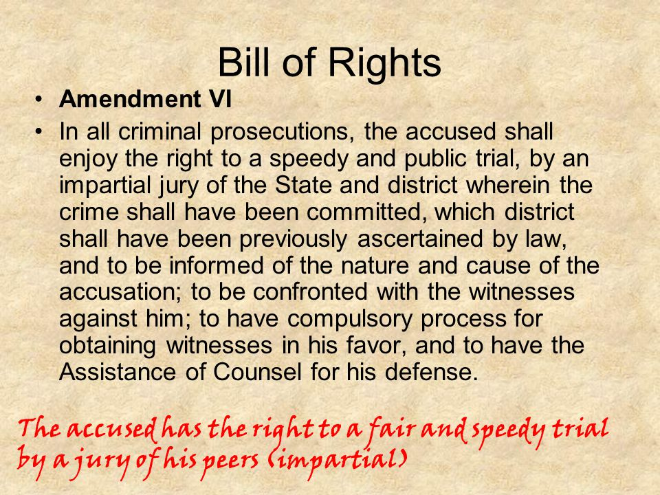 Bill of Rights Amendment VI.