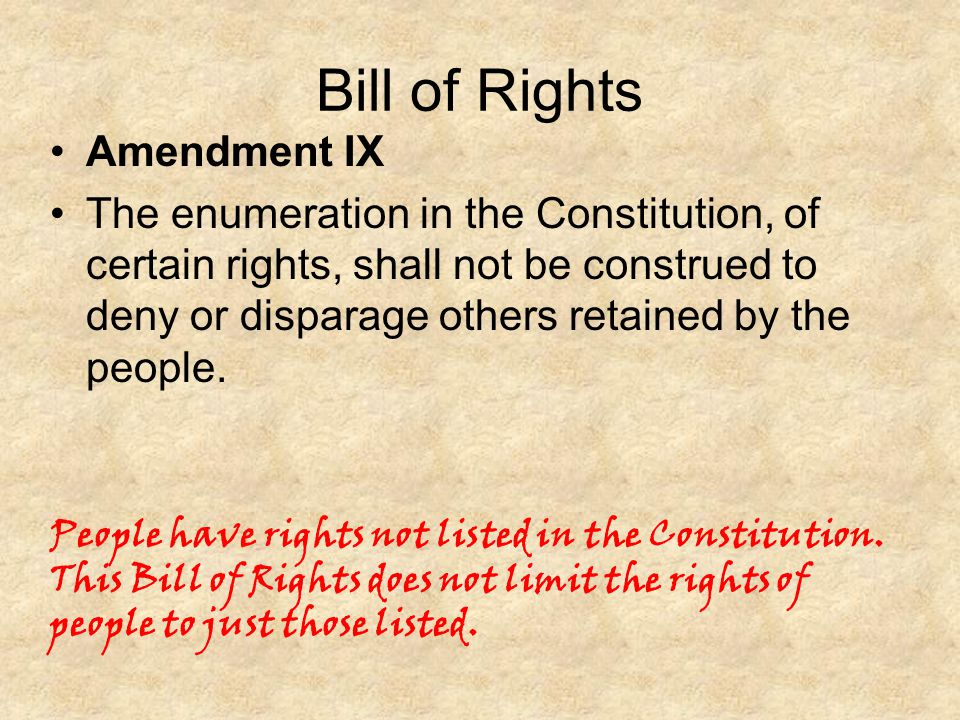 Bill of Rights Amendment IX
