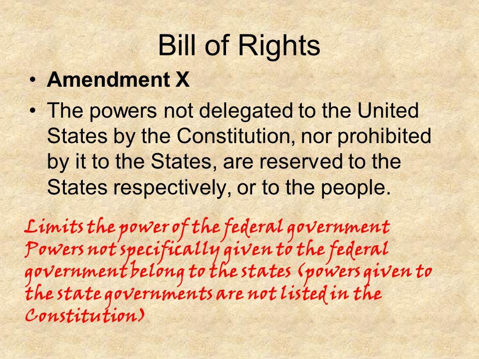 Bill of Rights Amendment X