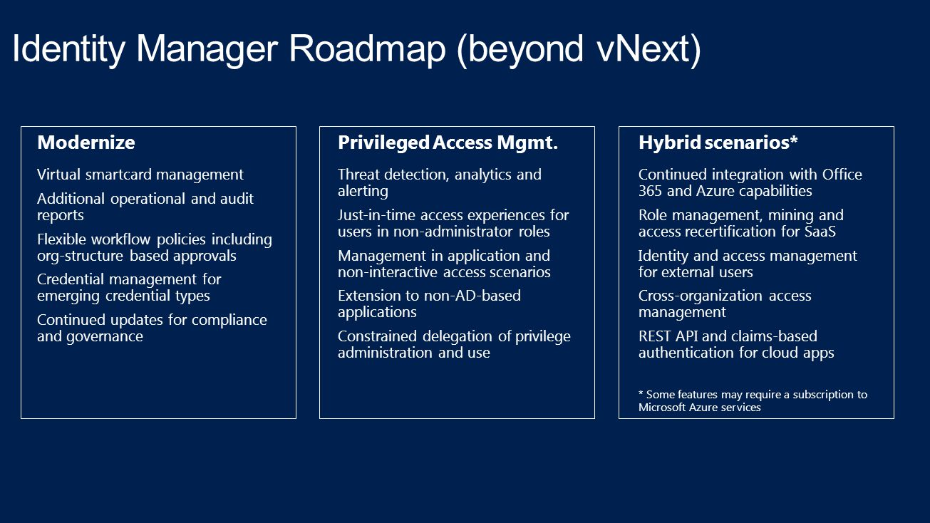 Identity Manager Roadmap (beyond vNext)