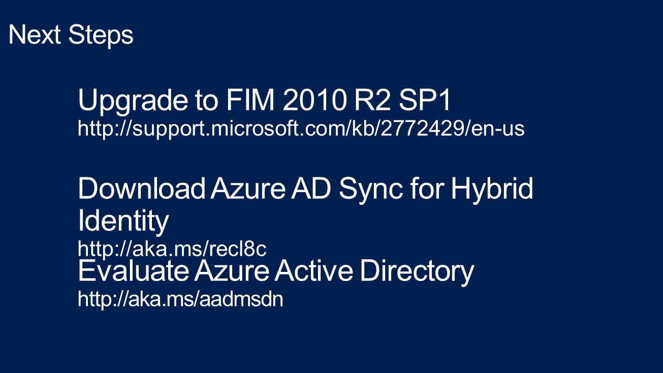 Download Azure AD Sync for Hybrid Identity