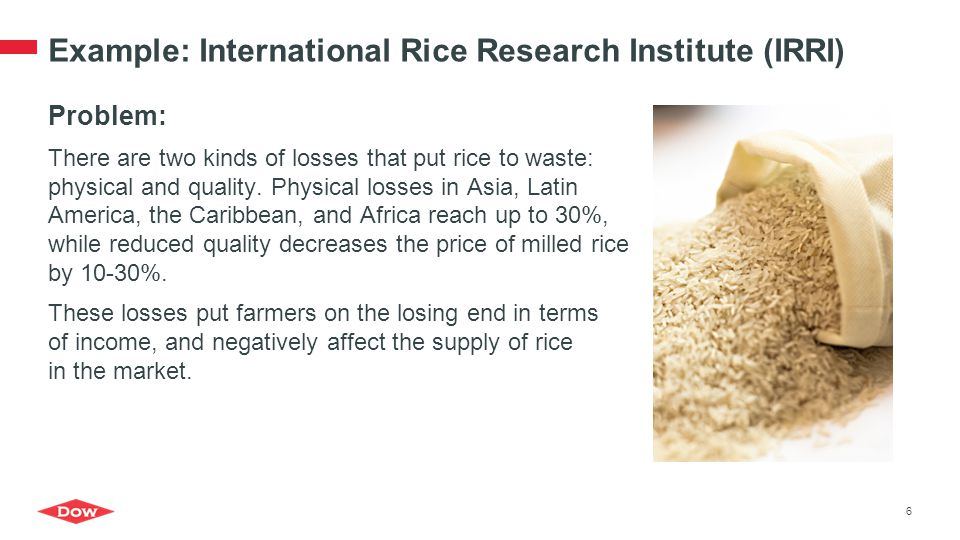 Example: International Rice Research Institute (IRRI)
