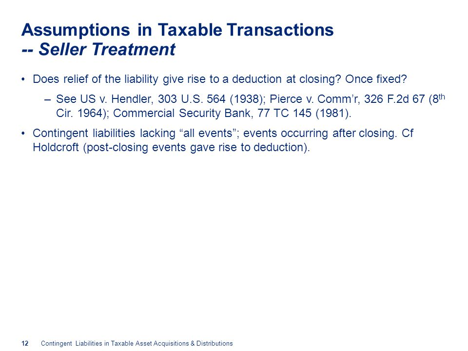 Assumptions in Taxable Transactions -- Seller Treatment