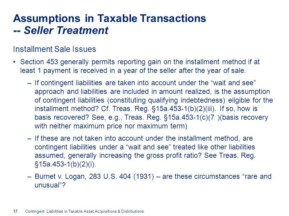 Contingent Liabilities -- Buyer Treatment