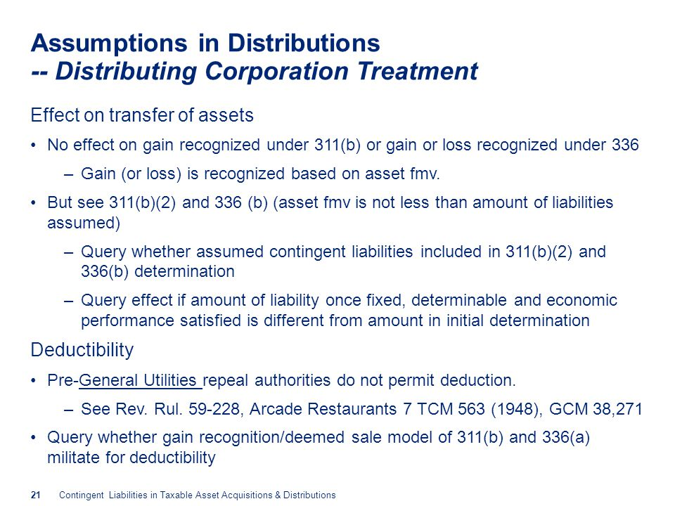 Assumptions in Distributions -- Distributee Treatment