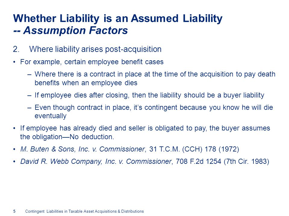 Whether Liability is an Assumed Liability -- Assumption Factors