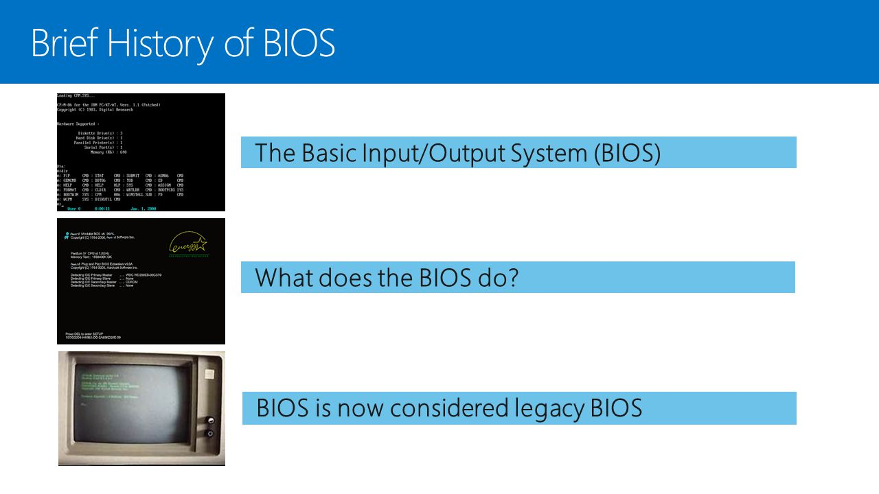 Brief History of BIOS The Basic Input/Output System (BIOS)