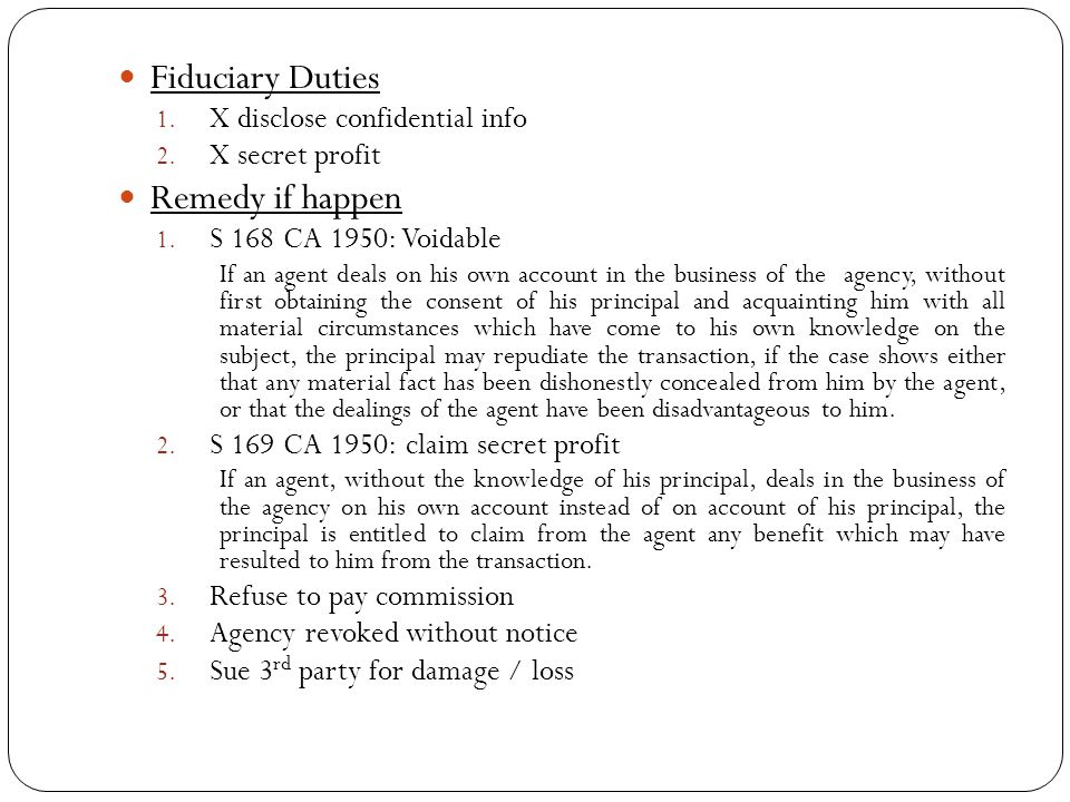Fiduciary Duties Remedy if happen X disclose confidential info