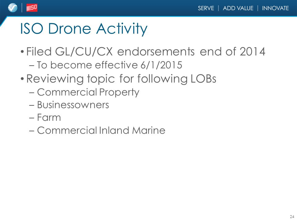 ISO Drone Activity Filed GL/CU/CX endorsements end of 2014