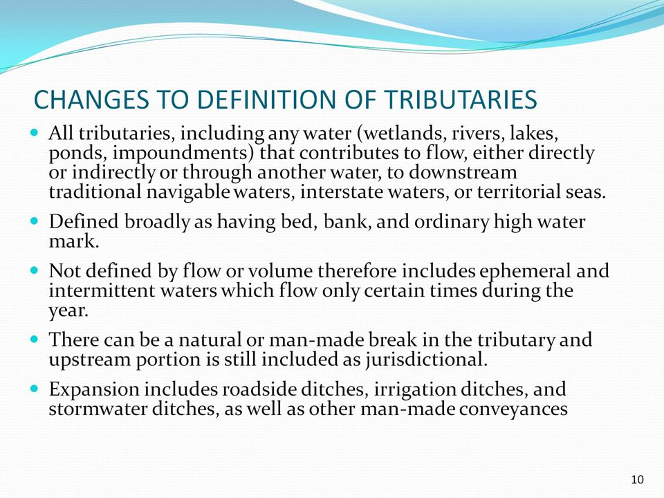 CHANGES TO DEFINITION OF TRIBUTARIES