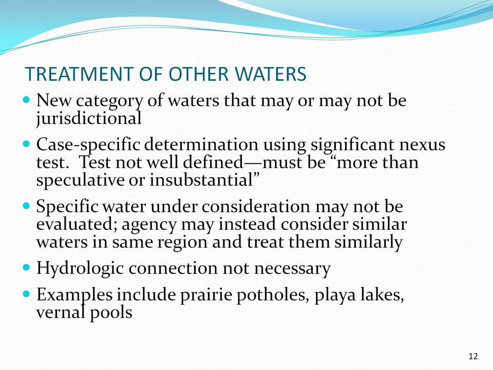 TREATMENT OF OTHER WATERS