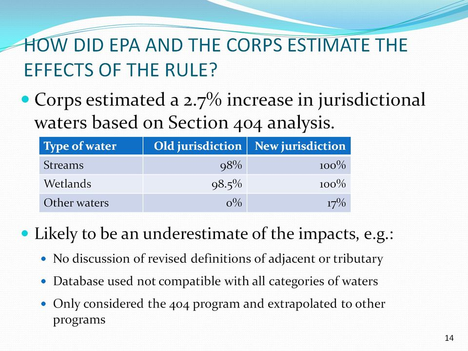 HOW DID EPA AND THE CORPS ESTIMATE THE EFFECTS OF THE RULE