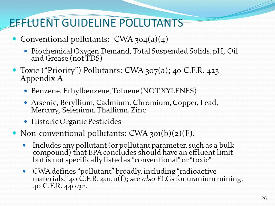 EFFLUENT GUIDELINE POLLUTANTS