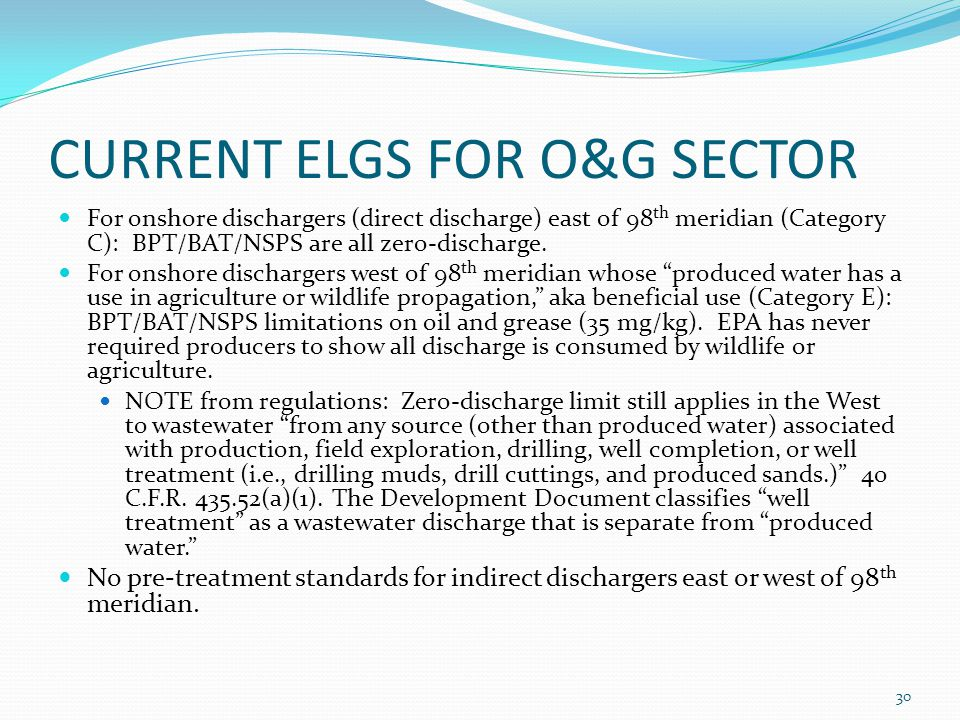 CURRENT ELGS FOR O&G SECTOR