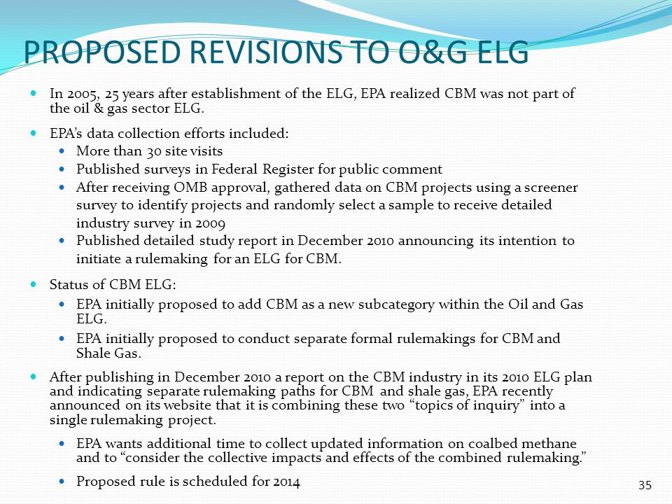 Proposed revisions To O&G elg