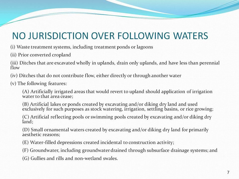 NO JURISDICTION OVER FOLLOWING WATERS