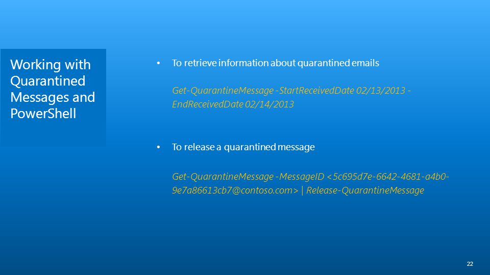 Working with Quarantined Messages and PowerShell