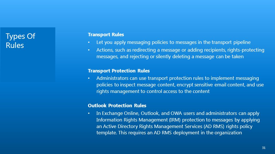 Types Of Rules Transport Rules
