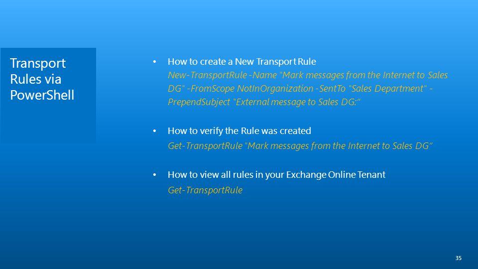 Transport Rules via PowerShell