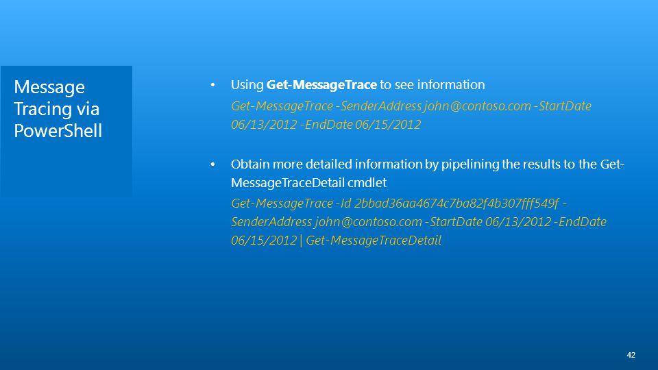 Message Tracing via PowerShell