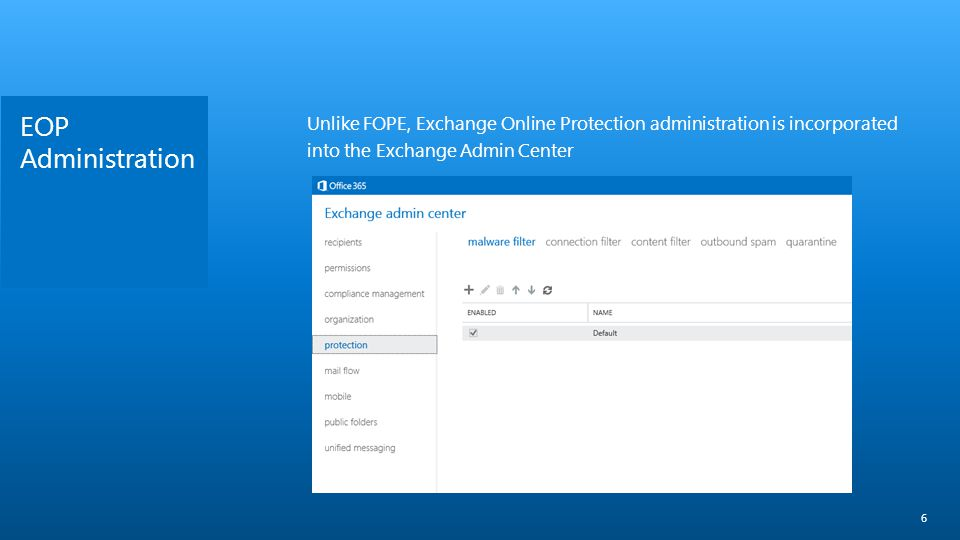 EOP Administration Unlike FOPE, Exchange Online Protection administration is incorporated into the Exchange Admin Center.